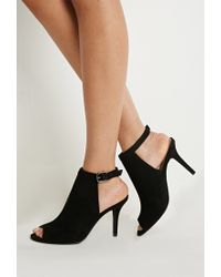 Forever 21 - Black Faux Suede Peep Toe Pumps - Lyst
