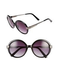 Steve Madden | Black 52mm Round Sunglasses | Lyst
