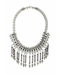 TOPSHOP | Black Rhinestone And Stick Necklace | Lyst