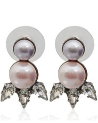DANNIJO | Metallic Silver-Plated Pearl Crystal Reed Drop Stud Earrings | Lyst