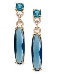 ABS By Allen Schwartz | Blue Gold-Tone Crystal Long Stone Drop Earrings | Lyst