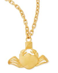Valentino - Metallic Golden Cancer Zodiac Necklace - Lyst