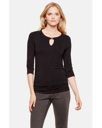 Vince Camuto | Black Three-quarter Sleeve Keyhole Top | Lyst