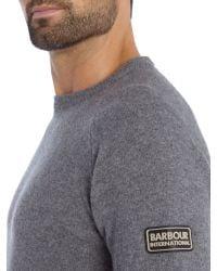 Barbour - Gray Conquest Crew Neck Jumper for Men - Lyst