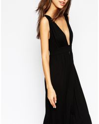 ASOS | Black Tall Plunge Front Maxi Dress | Lyst