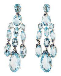 Alexis Bittar Fine - Blue Topaz/Quartz/Sapphire & Diamond Chandelier Earrings - Lyst