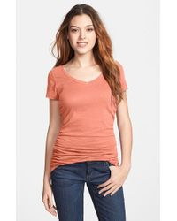Caslon | Pink Shirred V-neck Tee | Lyst