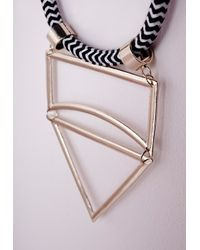 Missguided   Metallic Cut Out Statement Rope Necklace Gold   Lyst