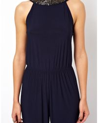 ASOS | Blue Exclusive Jumpsuit with Embellished Collar and Back | Lyst