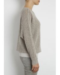 INHABIT | Gray Cashmere Chainette Crochet Dolman Pullover | Lyst