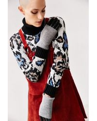 Urban Outfitters - Gray Fuzzy Knit Leather Glove - Lyst