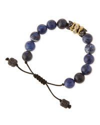 Armenta | Blue Old World Sodalite Beaded Diamond Bracelet for Men | Lyst
