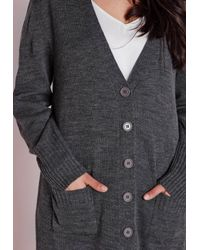Missguided - Gray Plus Size Longline Button Up Cardigan Grey - Lyst
