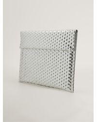 MM6 by Maison Martin Margiela - Metallic Shiny Textured Clutch Bag - Lyst