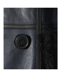 Burberry Brit - Blue Shearwell Shearling-Lined Leather Jacket - Lyst