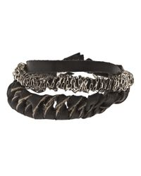 Emanuele Bicocchi - Black Twisted Bracelet for Men - Lyst