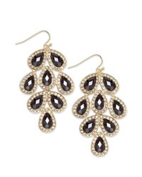 INC International Concepts | Metallic Gold-tone Jet Stone Leaf Chandelier Earrings | Lyst