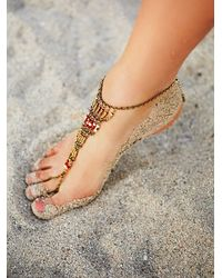 Free People - Metallic Bonfire Beaded Anklet - Lyst