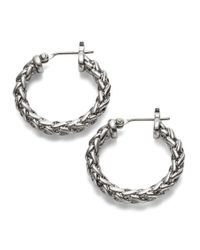 Lauren by Ralph Lauren | Metallic Small Braided Hoop Earrings - 0.75 In. | Lyst