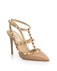 Valentino - Natural Rockstud Leather Slingback Pumps - Lyst