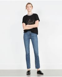 Zara | Black Ribbed Text T-shirt | Lyst