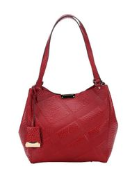 Burberry | Military Red Check Leather 'canterbury' Small Shoulder Bag | Lyst