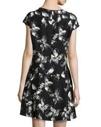 Halston | Multicolor Cap-Sleeve Floral-Print Dress | Lyst