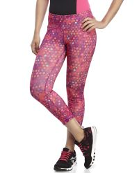 Reebok | Pink Dot Print Athletic Capri Pants | Lyst