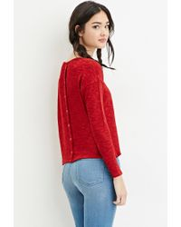 Forever 21 | Red Button-back Knit Top You've Been Added To The Waitlist | Lyst