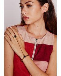 Missguided | Metallic Stone Gem Hand Harness Gold | Lyst