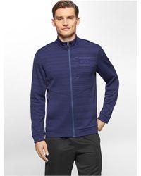 Calvin Klein - Blue White Label Performance Space Dye Zip Front Fleece Jacket for Men - Lyst