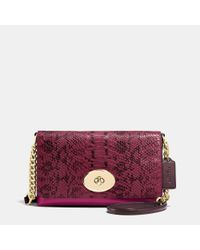 COACH | Purple Crosstown Crossbody In Colorblock Exotic Embossed Leather | Lyst