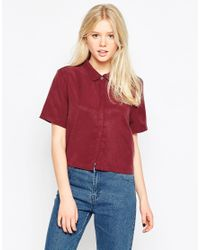 Native Youth - Red Tencel Cropped Shirt - Lyst