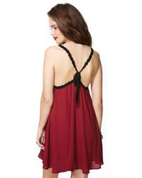 Nasty Gal - Red Fascinate Lace Slip Dress - Lyst