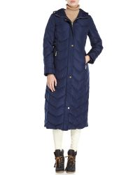 Ellen Tracy | Blue Hooded Long Down Coat | Lyst