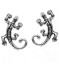 Aeravida - Black Petite Gecko Lizard .925 Silver Stud Earrings - Lyst