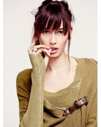 Free People | Natural Buckle Cardigan | Lyst