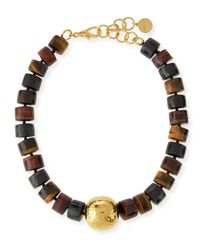 Nest | Metallic Tiger's Eye Statement Necklace for Men | Lyst