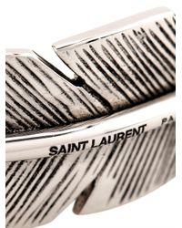 Saint Laurent - Metallic Feather Sterling-Silver Bracelet for Men - Lyst