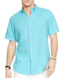 Ralph Lauren | Blue Polo Short Sleeved Linen Shirt - Classic Fit for Men | Lyst