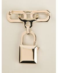 DSquared² - Metallic Padlock Brooch - Lyst