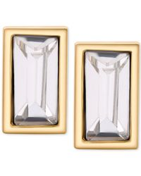 T Tahari - Metallic Gold-tone Rectangle Clear Crystal Stud Earrings - Lyst