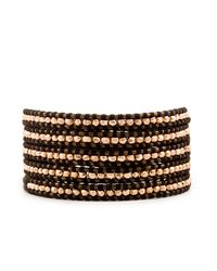 Chan Luu | Metallic Rose Gold Wrap Bracelet On Brown Leather | Lyst