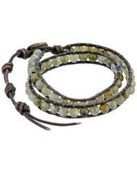 Chan Luu - Gray 13 1/2' Labradorite/natural Grey Double Wrap Bracelet for Men - Lyst