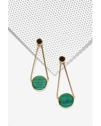 Nasty Gal | Green Bottom Line Drop Earrings | Lyst