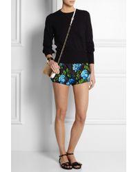 Miu Miu - Black Floral Print Silk Faille Mini Shorts - Lyst