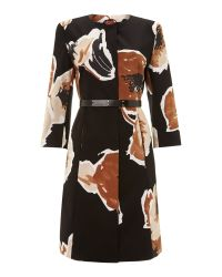 Max Mara Studio | Black Giunto Long Sleeved Floral Print Dress Coat | Lyst