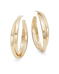 "Nine West | Metallic Double Crossover Hoop Earrings/1.5"" | Lyst"