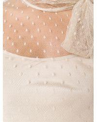 RED Valentino - Natural Sheer Polka Dot Bow Blouse - Lyst