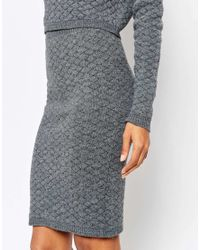 AX Paris - Gray Knitted Pencil Skirt - Lyst